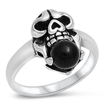 Silver Ring W/ Stone - Skull - $6.95
