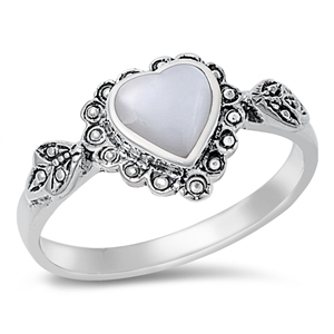 Silver Ring W/ Stone - Heart - $5.72