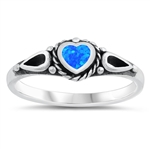 Silver Ring w/ Lab Opal - Heart - $4.96