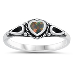 Silver Ring w/ Lab Opal - Heart - $5.12