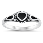 Silver Ring W/ Stone - Heart - $4.05