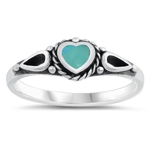 Silver Ring W/ Stone - Heart - $4.15