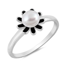 Silver Ring W/ Stone - Flower - $4.12