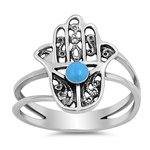 Silver Ring W/ Stone - Hand of God - $5.65