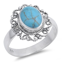Silver Ring W/ Stone - $7.99