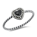 Silver Ring w/ Stone - Heart - $2.52