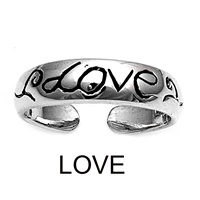 Silver Toe Ring - Love
