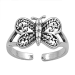 Silver Toe Ring - Butterfly