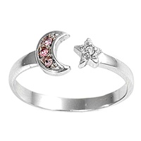 Silver Toe Ring - Star And Moon