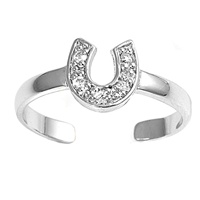 Silver Toe Ring w/ CZ - Horse'S Shoe