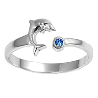 Silver Toe Ring w/ CZ - Dolphin