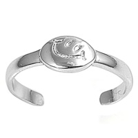 Silver Toe Ring - Smiling Face