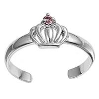 Silver Toe Ring w/ CZ - Crown