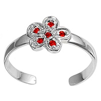 Silver Toe Ring w/ CZ - Flower