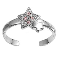 Silver Toe Ring w/ CZ - Star
