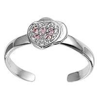 Silver Toe Ring w/ CZ - Heart