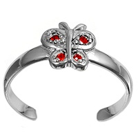 Silver Toe Ring w/ CZ - Butterfly