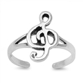 Silver Toe Ring - Music Note