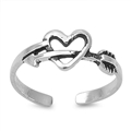 Silver Toe Ring - Heart w/ Arrow