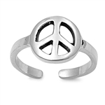 Silver Toe Ring - Peace Sign
