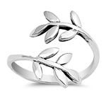 Silver Toe Ring - Wraparound Leaf
