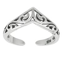 Silver Toe Ring - V Shaped Filigree