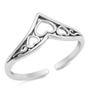 Silver Toe Ring - Hearts in V Shape