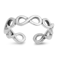 Silver Toe Ring - Wraparound Infinity Signs