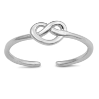 Silver Toe Ring - Mini Pretzel Heart