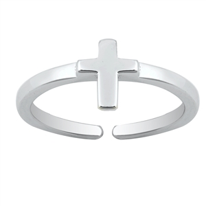 Silver Toe Ring - Cross