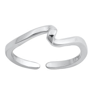 Silver Toe Ring - Wave