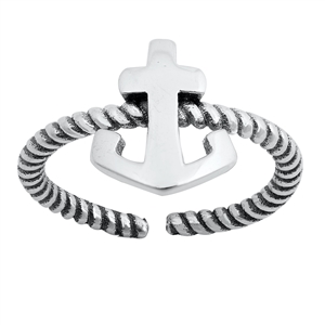 Silver Toe Ring - Anchor
