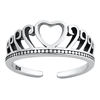 Silver Toe Ring - Heart Crown