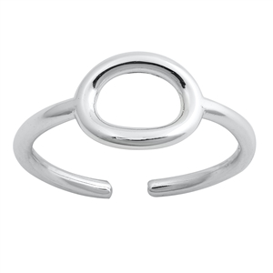 Silver Toe Ring - Oval