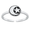 Silver Toe Ring - Moon and Star
