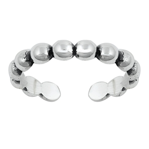 Silver Toe Ring - Beads