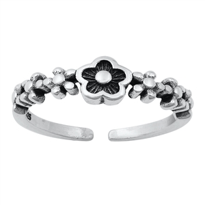 Silver Toe Ring - Flowers