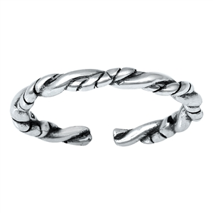 Silver Toe Ring -  Rope