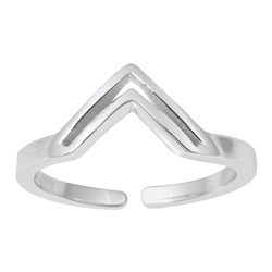Silver Toe Ring - V Shaped