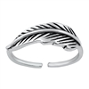 Silver Toe Ring - Feather
