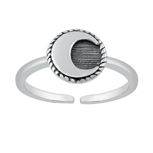 Silver Toe Ring - Crescent Moon