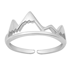 Silver Toe Ring - Mountain
