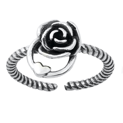Silver Toe Ring - Rose