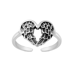 Silver Toe Ring - Wings