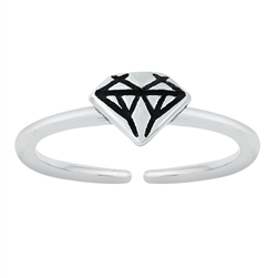 Silver Toe Ring - Diamond