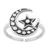 Silver Toe Ring - Moon & Star