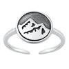 Silver Toe Ring - Mountains