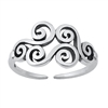 Silver Toe Ring - Wind Symbol