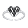 Silver Toe Ring - Polka Dot Heart