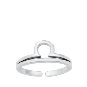 Silver Toe Ring - Libra Zodiac Sign